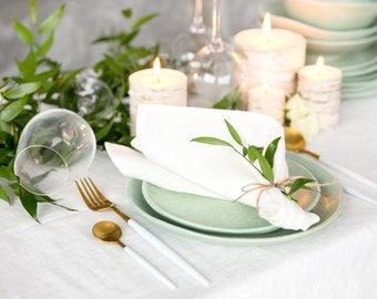White Restaurant Napkins set of 6 made from Baltic linen - Wedding napkins - Cloth napkins