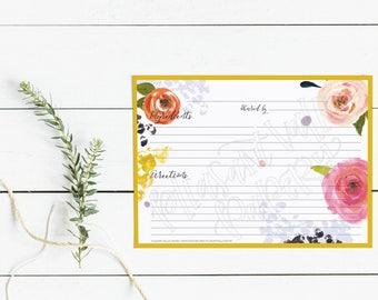 "Yellow Border - Pink Roses 4x6"" and 5x7"" Recipe Card - PRINTABLE / DIGITAL File"