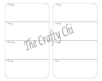 PRINTED Weekly Calendar, WO2P, Traveler's Notebook /  23weeks