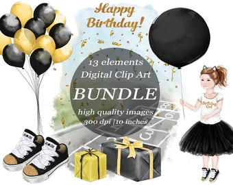 Happy Birthday Girl Watercolor Clipart Bundle Black & Gold Clip Art Hopscotch Balloon Gifts Summertime Park Party  Digital Craft Scrapbook