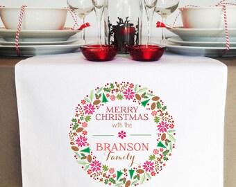 Colourful Wreath Christmas Table Runner