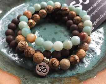 Grounding, Creativity + Self Expression Stack of 3 Spiritual Junkies Agarwood, Picture Jasper, Amazonite + Hill Tribe Om Yoga Bracelets