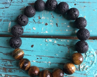 Lava Bead + Tigers Eye | Spiritual Junkies | Chunky 10 mm | Essential Oil Diffuser Jewelry | Yoga + Meditation | Stackable Mala Bracelet