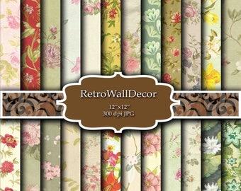 30%OFF Floral Digital Paper Pack , Vintage Floral Backgrounds , Vintage floral texture Vintage Flowers Paper Pack 12x12 Buy 2 Get 1 FREE