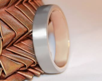 6mm Flat Profile Platinum and 18ct Rose Gold 'Clova' Wedding Ring