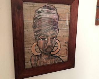 Black art black woman headwrap natural hair wall art