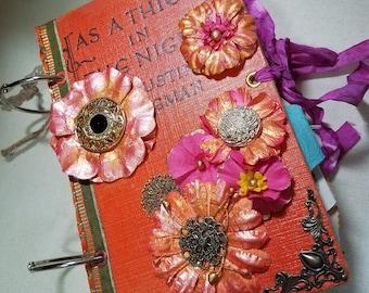 Ring Bound junk journal, Orange floral