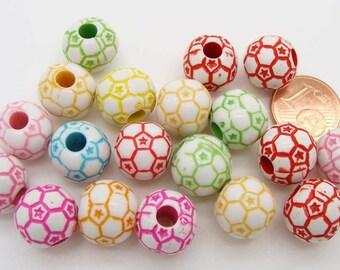 20 perles Ballon Foot 12x11mm Acrylique MIX COULEURS RES-81 création bijoux