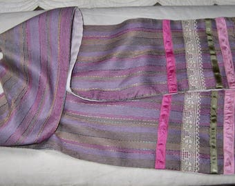 scarf has colorful stripes pink mauve satin