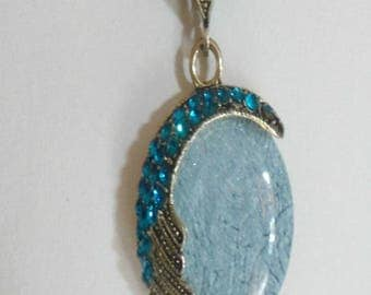 Mid-long necklace with Rhinestones and turquoise gem stone