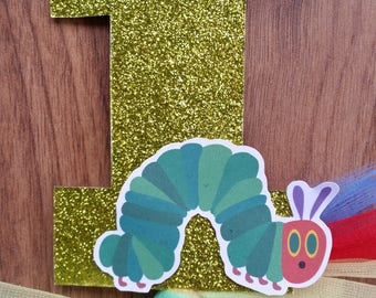 1st First Birthday Custom Made Glitter Hungry Caterpillar Number 1 Cake Topper with Bow Birthday Cake Decoration