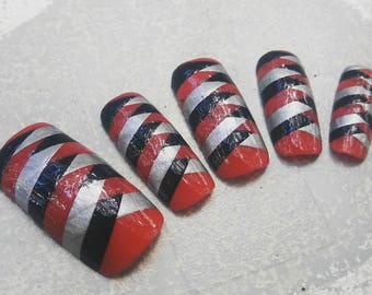 Thor inspired braid pattern press on nails glue on square tip nails matte or gloss