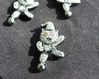 beautiful little bear charm with cubic zirconia 23 mm x 12 mm black silver alloy