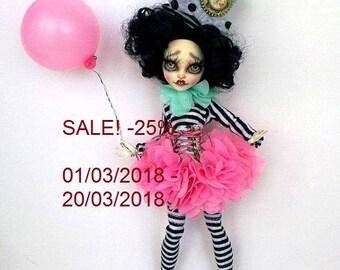 SALE 25%! Monster High Repaint, Monster High OOAK, High Monster Custom Lalarossa, Catrine de Mew, BJD, Pixie