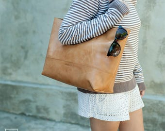 NUBRA / Color Tan/ Shopper Bag /Shoulder bag /classic tote bag /Leather Tote Bag / Leather Tote/ full grain leather tote bag