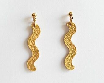 Statement gold leather earrings Zig Zag Earrings Laser Cut Jewelry Light earrings