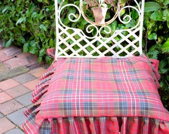 SAMPLE CLEARANCE Ruffled Seat Covers, Chair Covers, Scottish Tartan 100% Wool Seat Covers, Seat Cover