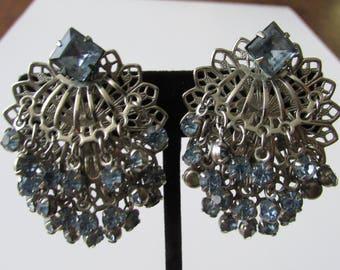 Vintage Blue Rhinestone Dangle Clip Earrings