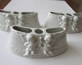 3 Vintage Dresden Angel Holders White Porcelain Holder Flowers Vanity Desk Shabby Decor