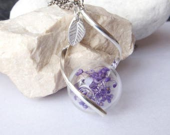 Sale Purple flower necklace Glass terrarium pendant  Pressed flower necklace Bridal jewellery Gift for her  Real flower Botanical necklace B
