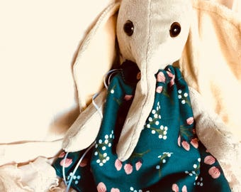 Light Gray Plush Elephant in Teal Floral Dress