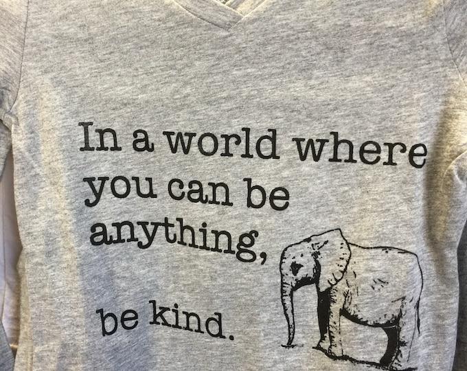 Girl's Be Kind Longsleeve Elephant Shirt