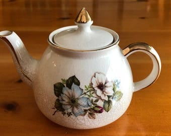 Vintage Gibsons Staffordshire Teapot with Floral Pattern & Gold Accents Numbered