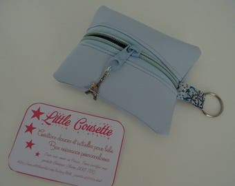 Purse faux leather/sky blue cotton Liberty of London and custom gift box