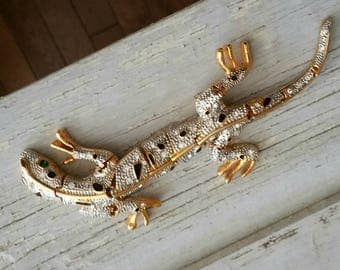 Vintage Large Gold Tone Rhinestone Articulated Lizard Brooch, Vintage Jewelry, Gecko Scarf Pin