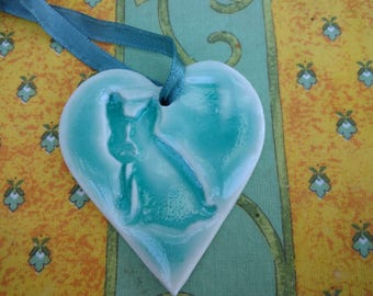 Porcelain hearts with a choice of Frenchie, Whippet or Terrier