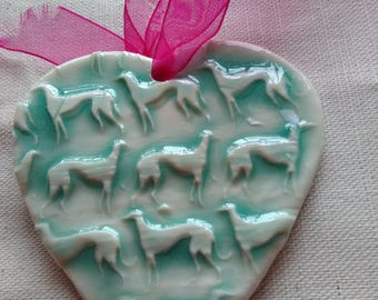 Lurcher decorative hanging Porcelain heart