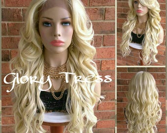 NEW ARRIVAL // Ready To Ship // Long Glamorous Curly Lace Front Wig, 100% Human Blend Wig, Platinum Blonde Wig, Free Parting// PERFECT2