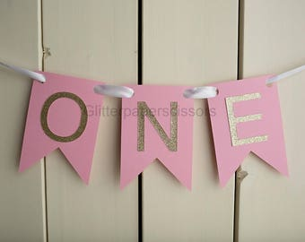 One Banner - First Birthday - Glitter One - Photopgrahy Prop - Cake Smash - Highchair Banner - I am One