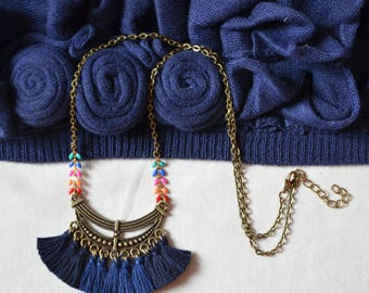 Long Navy Blue and bronze, blue tassel necklace, blue necklace