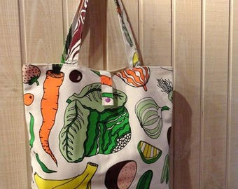 foldable ecru printed fabric tote bag Tote with fruits and vegetables