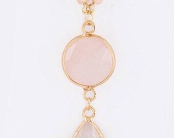 Stone Teardrop Pendant Necklace Pink