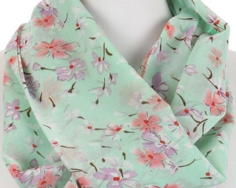 Floral Print Infinity Scarf Mint