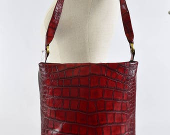 Rich Red Croc Embossed Leather Conceal Carry Purse - Made in the USA