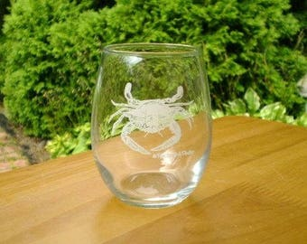 Crab Wine Glasses, set of 6, stemless 15 oz wine glasses