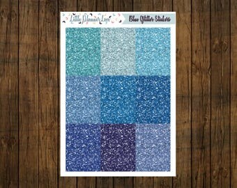 Variety of Blue Glitter Headers Stickers for Planners