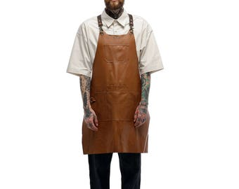 Hair Scissors Leather Apron (Brown) by ARC1_ Leather(cowhide) apron for Hairdresser, Haitstylist, Beautician, Barber, Cosmetologist