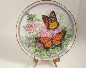 Vintage Monarch Butterfly Garden Wall Plate by Paul J. Sweany