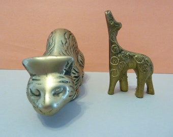 Brass Animal Figures, Cat & Giraffe
