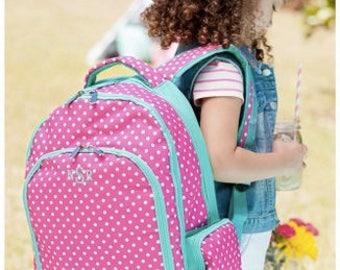 Monogrammed Pinky Dot Backpack ~ Monogrammed girls backpack ~ Back to school backpack