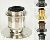 "E27 ES Edison Screw Batten Lamp Bulb Holder & Shade Ring Vintage Retro 2"" Centres - Multiple Finishes"