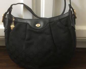 Authentic Vintage GUCCI crossbody messenger small hobo monogram Canvas leather handbag bag Classic GG
