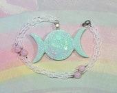 Pastel Goth Necklace, Triple Moon Goddess Necklace, Witchy Necklace, Moon Necklace, Wiccan Necklace, Moon Necklace, Witch Necklace
