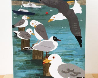 Herring Gulls and Sailing Boats Greetings Card