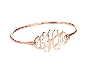 Rose Gold Monogram  Bangle Bracelet - Interlocking Collection