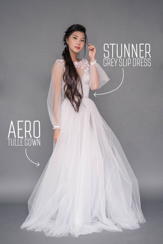 Set Of Wedding Separates Aero Long Sleeve Dress Gown With Bell Sleeves Slip A Line Tulle Skirt Chapel Train